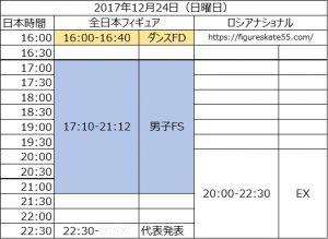 全日本フィギュアスケート選手権 2017 ロシアフィギュアスケート選手権 ナショナル 日程 タイムスケジュール 時間 2017/12/24